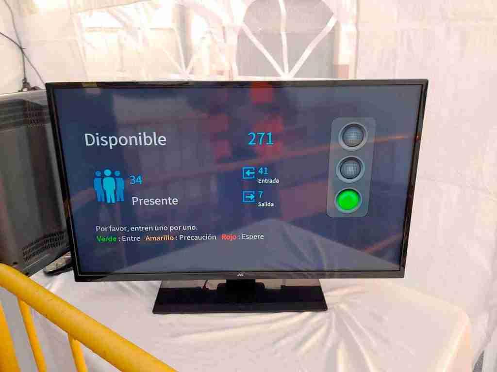 pantalla control de aforo y conteo de personas