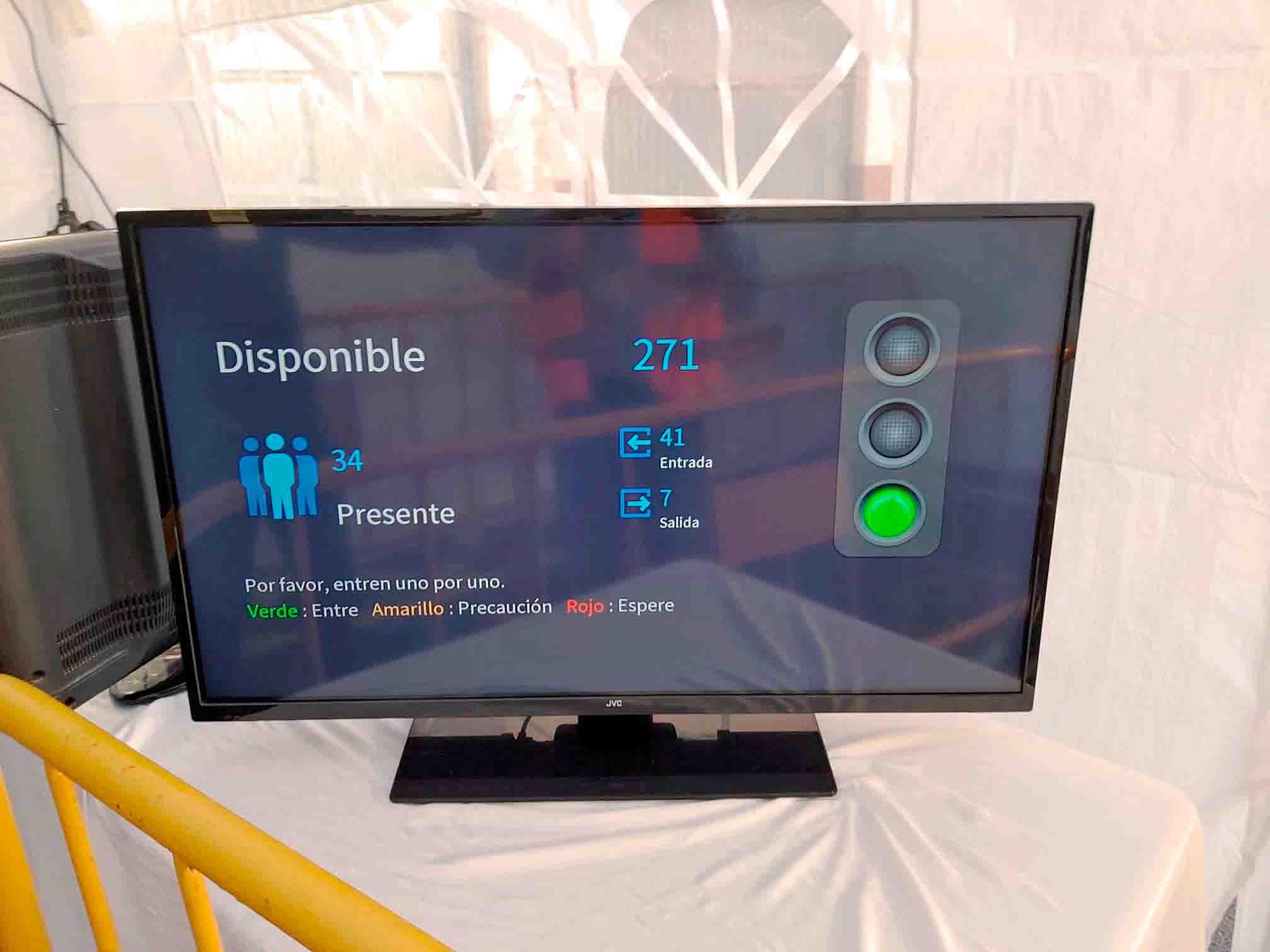 pantalla para cámaras de control de aforo y conteo de personas